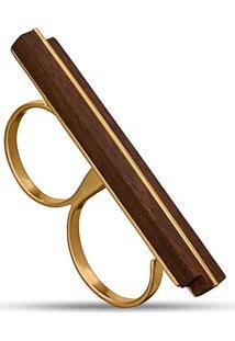 Anel Duplo Wooden Design Traço Em Prata 925 - Madeira E Dourado