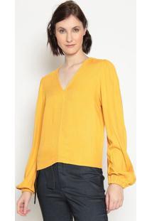 Blusa Texturizada Com Franzidos- Amarelala Chocolãª
