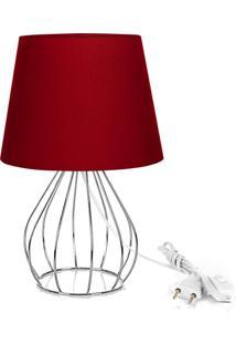 Abajur Cebola Dome Vermelho Com Aramado Cromado - Vermelho - Dafiti
