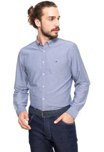 Camisa Tommy Hilfiger Regular Fit Oxford Azul