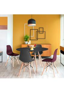 Conjunto De Mesa De Jantar Com 4 Cadeiras Eames Eiffel Preto E Vinho