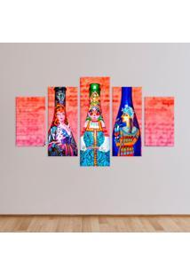 Conjunto De 5 Telas Decorativas Garrafas Pintadas Médio Love Decor