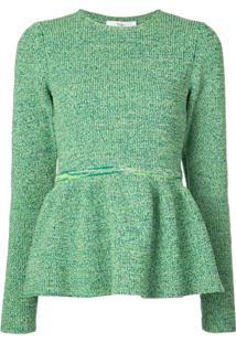 Tibi Blusa De Tricô Peplum - Verde