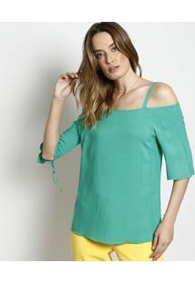Blusa Assimétrica Com Ilhoses- Verde- Nemnem