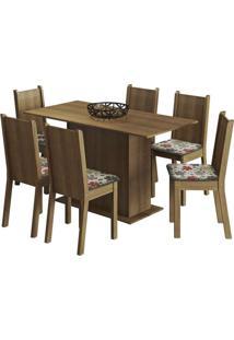 Conjunto De Mesa Com 6 Cadeiras Celeny Rustic E Floral Hibiscos