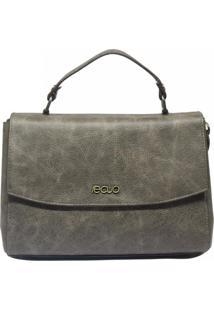 Bolsa De Couro Recuo Fashion Bag Baú Cinza