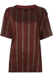 Uma Wang Blusa Listrada Mangas Curtas - Vermelho