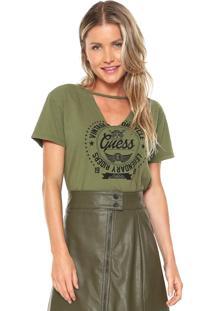 Camiseta Guess Choker Estampada Verde - Kanui