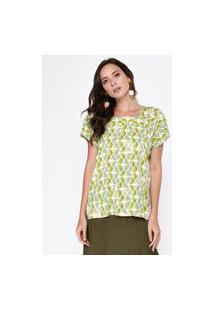Blusa Estampada Decote Quadrado Verde