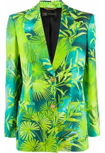 Versace Blazer Com Estampa De Selva E Abotoamento Simples - Azul