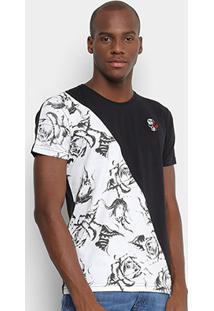Camiseta Gangster Especial Masculina - Masculino-Preto+Branco