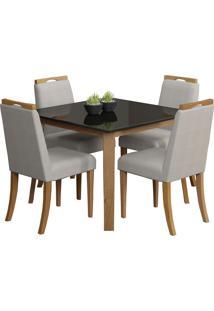 Conjunto De Mesa C/ 4 Cadeiras Espanha - Volttoni - Natural / Preto