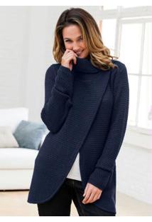 Suéter De Tricô Transpassado Azul
