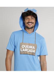 """Camiseta Masculina Carnaval Ursinho """"Queima Largada"""" Com Capuz De Orelhinhas Manga Curta Azul"""
