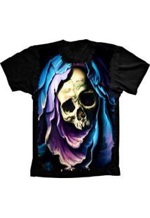 Camiseta Manga Curta Lu Geek Aveira Skull Preto