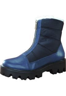 Bota Tratorada De Couro E Nylon Azul Com Zíper Frontal Forro De Lã Italeoni