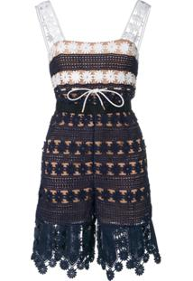 Self-Portrait Floral Embroidered Playsuit - Azul