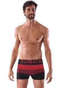 Cueca Boxer Sem Costura Corpo Preto Listras Vermelha E Cereja