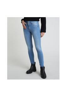 Calça Jeans Feminina Super Skinny Pull Up Cintura Média Azul Claro