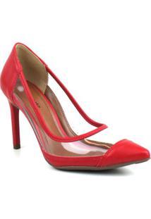 Scarpin Emporionaka Transparente Feminino - Feminino-Vermelho