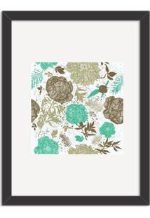 Quadro Decorativo Floral Verde Mesclado Com Fundo Branco Preto - Médio