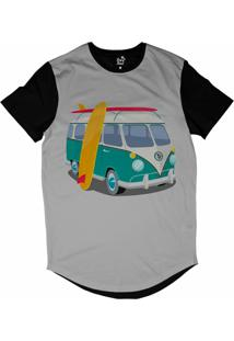 Camiseta Longline Long Beach Kombi Sublimada Cinza