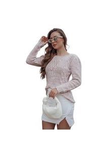 Blusa Tricot Arles Feminina Shopping Do Tricô Inverno Mousse