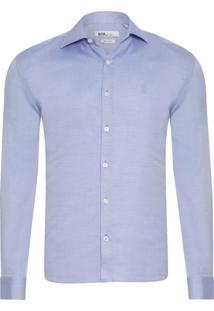 Camisa Masculina Tricoline Maquinetado - Azul Claro