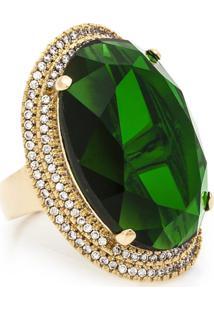 Anel Kumbayá Oval Semijoia Banho De Ouro 18K Cristal Verde E Cravação De Zircônias