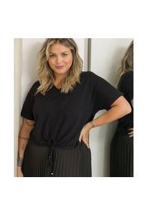 Blusa Lisa Com Amarração E Puxadinho Frontal Curve & Plus Size | Ashua Curve E Plus Size | Preto | Gg