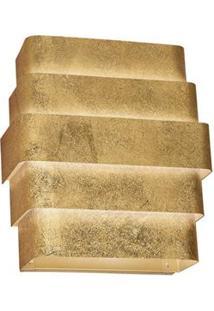 Arandela Interna Retangular Laor Suíça Em Alumínio Bivolt Com Soquete G-9 - Folheada A Ouro
