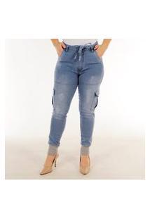 Calça Jeans Feminina Barra Moletom Premium Ii