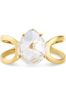 Anel Ouro Amarelo E Cristal