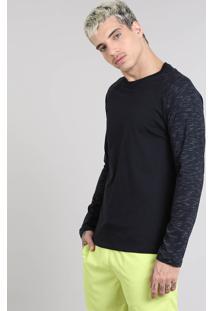 Camiseta Masculina Raglan Gola Careca Manga Longa Flamê Preta