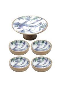 Conjunto Flower Com Prato Para Bolo E 4 Bowls De Madeira Bon Gourmet Azul/Branco