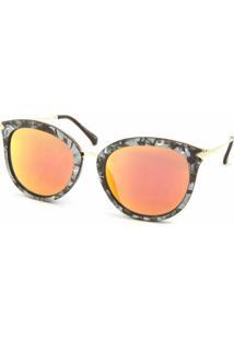 Óculos De Sol Bijoulux Gatinha Marmorizado Lente Espelhada Laranja