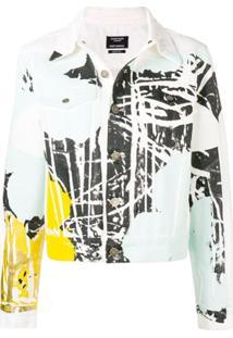 Calvin Klein 205W39Nyc Jaqueta Jeans Color Block Floral - Branco