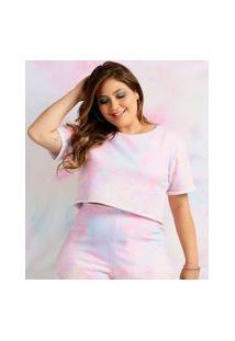Blusa Plus Size Feminina Cropped Tie Dye Costa Rica