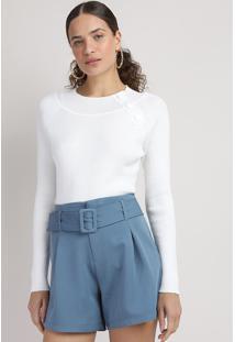 Suéter De Tricô Feminino Com Botões Decote Redondo Off White
