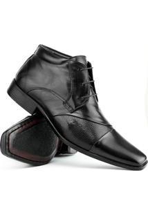Sapato Social Gofer Couro Cano Médio - Masculino-Preto