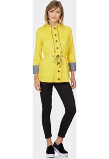 Jaqueta Com Capuz Em Tecido Amarelo - Lez A Lez