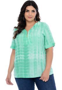 Blusa Plus Size Forma Rara Luna Tie Dye Verde