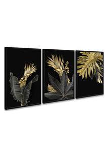 Quadro 60X120Cm Folhas Douradas Hostoa Moldura Preta Com Vidro
