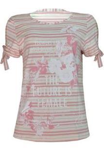 Camiseta Knt Laço Manga - Feminino-Rosa