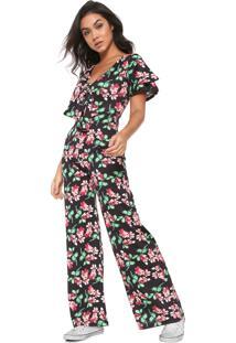 Macacão Fiveblu Pantalona Floral Preto