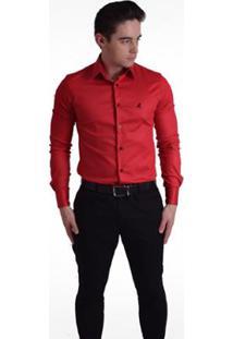 Camisa Horus Social Super Slim - Masculino-Vermelho