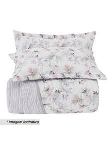 Conjunto De Colcha All Design Queen Size- Branco & Rosa