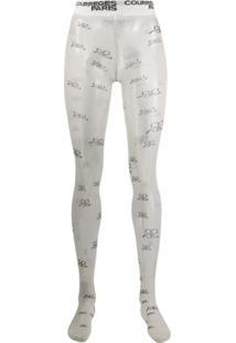 Courrèges Meia-Calça Com Logo - Branco