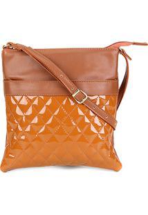 Bolsa Dergham Mini Bag Transversal Matelassê Feminina - Feminino-Caramelo