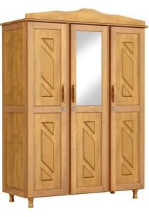 Guarda-Roupa Brasil Solteiro Mel Com Espelho 3 Portas Madeira Maciça De Pinus Cavazotto
